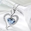 Náhrdelník Swarovski Elements True Love světle modrý - srdíčko