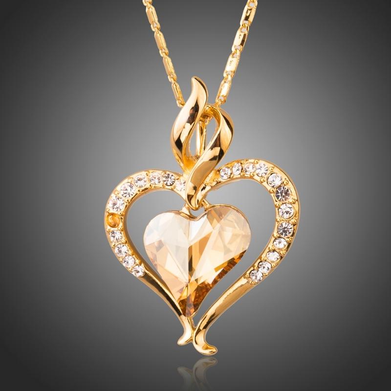 Náhrdelník Swarovski Elements True Love žlutý - srdíčko