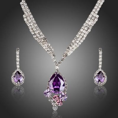 Souprava náhrdelníku a náušnic Swarovski Elements Matrimonio Purple