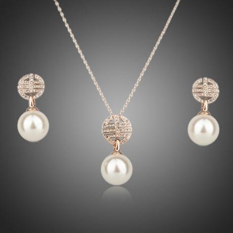 Souprava náhrdelníku a náušnic s perlou Masselin Rose