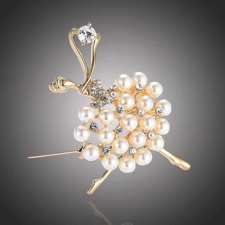 Brož Swarovski Elements s perlou Anna - baletka