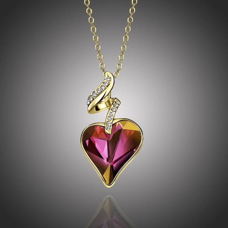 Náhrdelník Swarovski Elements Le Véritable Amour Violet - srdíčko