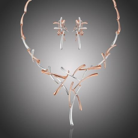 Exkluzivní souprava náhrdelníku a náušnic Dionisis - růžové pozlacení