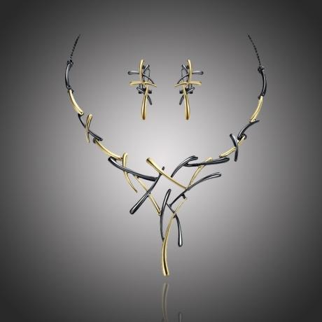 Exkluzivní souprava náhrdelníku a náušnic Dionisis - černozlatá