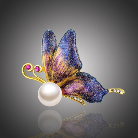 Brož s perlou Isabelle - motýl
