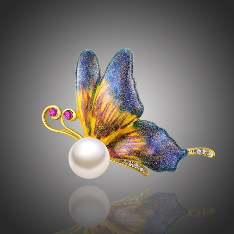 Brož s perlou Emanuella - motýl