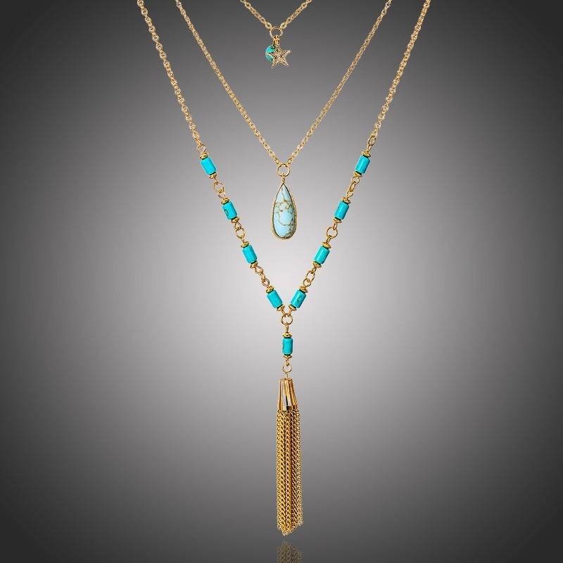 Trojitý náhrdelník se střapcem a s tyrkysem