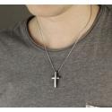 Pánský náhrdelník Angelo chirurgická ocel a čirý zirkon - kříž
