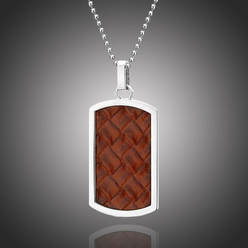 Pánský náhrdelník Salvador chirurgická ocel a přírodní kůže