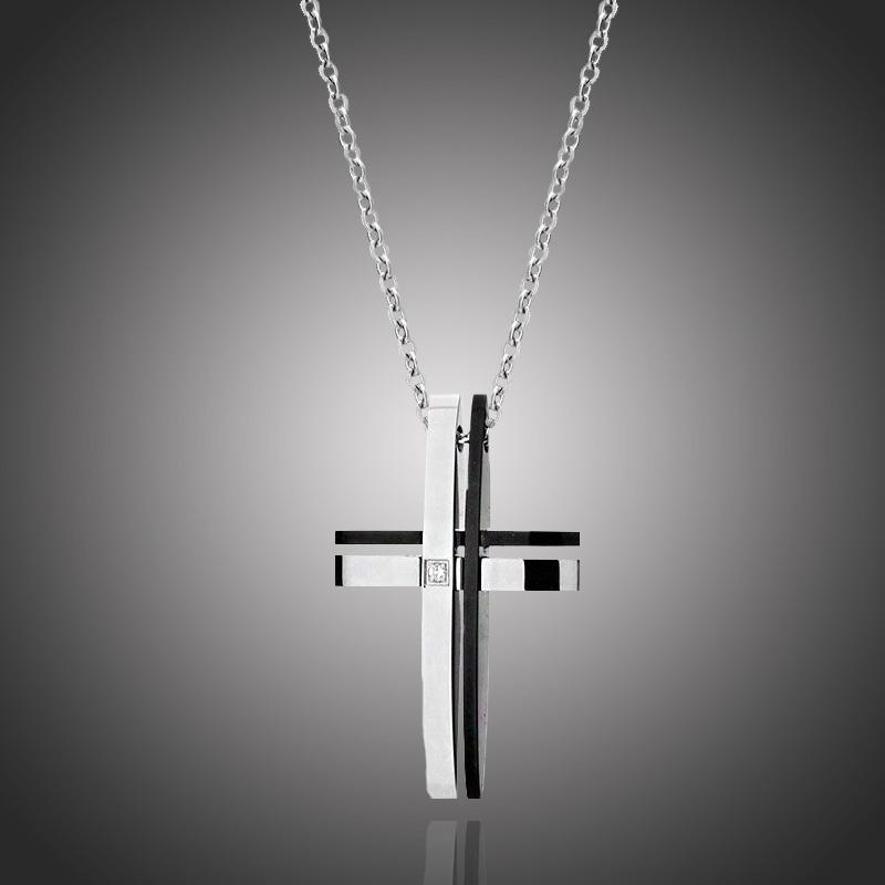 Pánský náhrdelník Angelo chirurgická ocel a čirý zirkon - kříž 87ef6a8e558