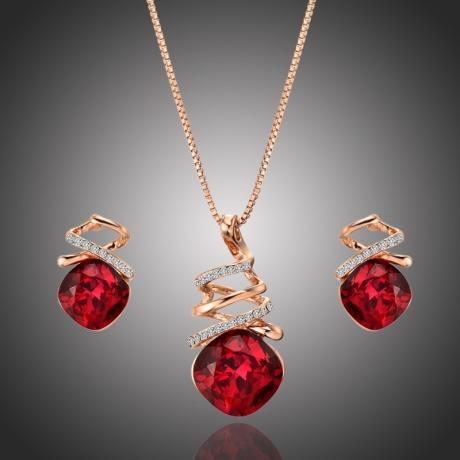 Souprava náhrdelníku a náušnic Swarovski Elements Soriana Rubino