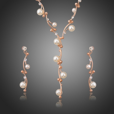 Souprava náhrdelníku a náušnic Swarovski Elements s perlou Calandre