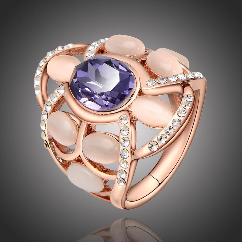 Exkluzivní prsten se Swarovski krystalem, opálem a zirkony