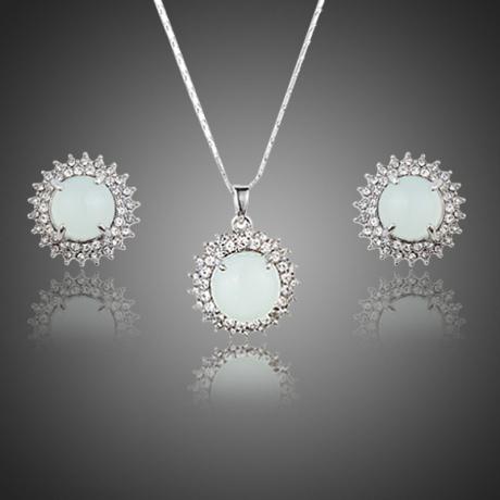 Souprava náhrdelníku a náušnic s opály a zirkony Gioia