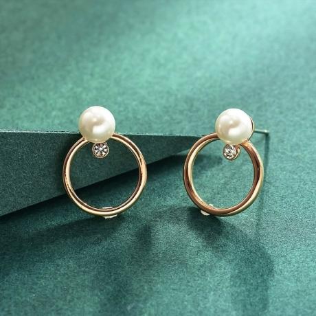 Náušnice se zirkonem a s perlou Anastasia