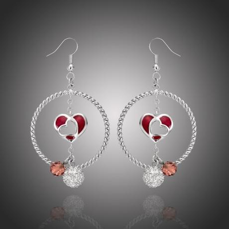 Náušnice Swarovski Elements Ambrosia - srdce