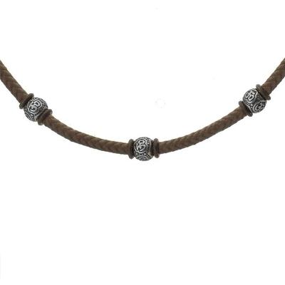 Pánský ocelový náhrdelník Serginio, chirurgická ocel a bavlněná šňůrka