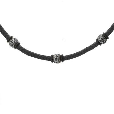 Pánský ocelový náhrdelník Ernst, chirurgická ocel a bavlněná šňůrka