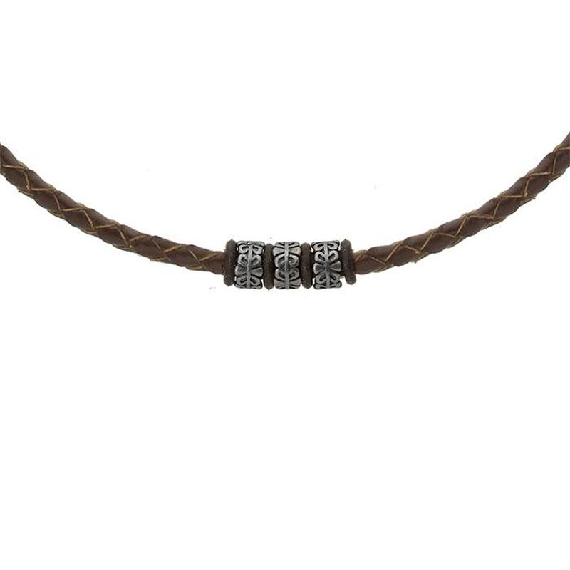 Pánský ocelový náhrdelník Owen, chirurgická ocel a přírodní kůže