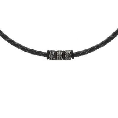 Pánský ocelový náhrdelník Kieran, chirurgická ocel a přírodní kůže