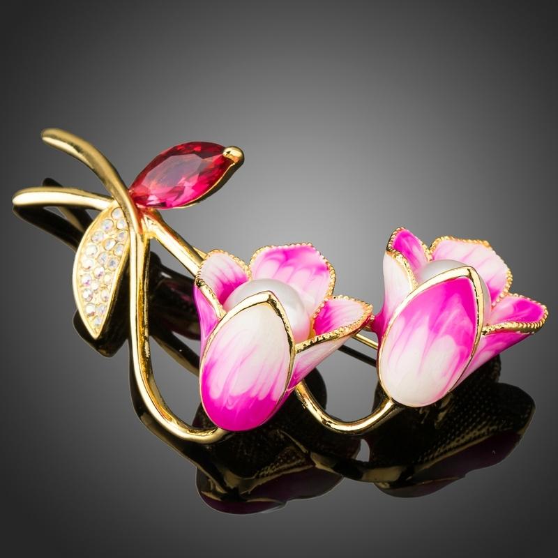 Brož Swarovski Elements Nervietti - tulipán