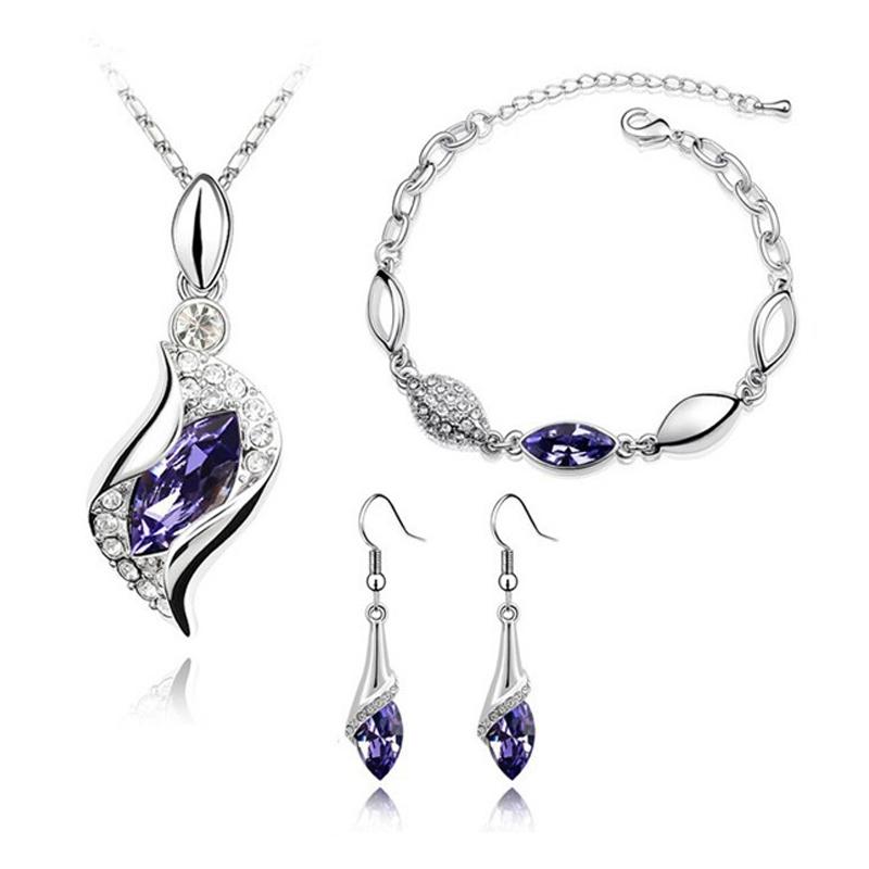 Souprava Swarovski Elements Andělské slzy fialové krystaly