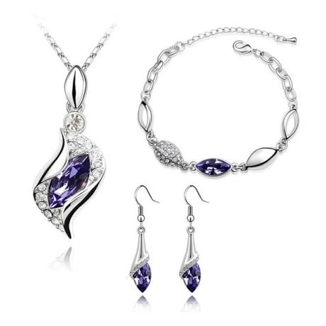 Souprava náhrdelníku, náušnic a náramku Andělské slzy fialové krystaly
