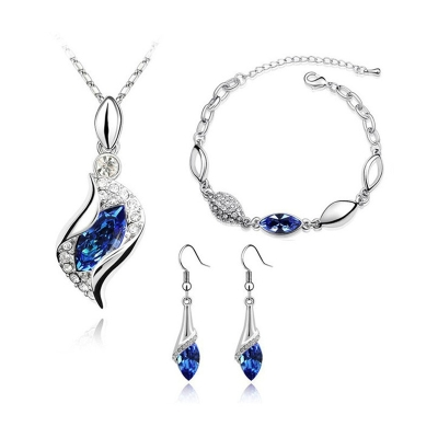 Souprava náhrdelníku, náušnic a náramku Andělské slzy - tmavě modrá