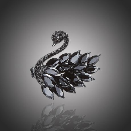 Exkluzivní brož Swarovski Elements Sabrina - černá labuť