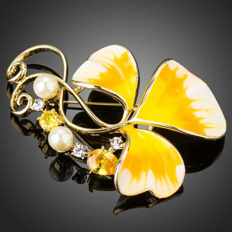 Brož Swarovski Elements Elvira- květina