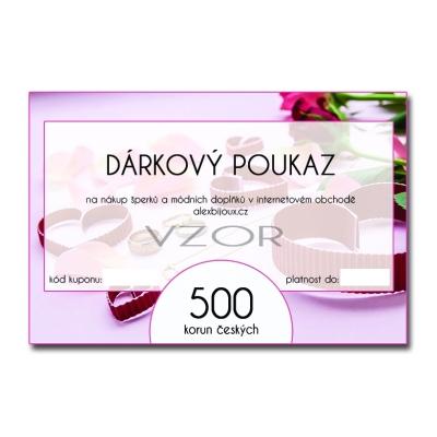 Dárkový poukaz na nákup šperků v hodnotě 500 Kč alexbijoux.cz