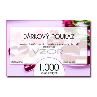 Dárkový poukaz na nákup šperků v hodnotě 1.000 Kč alexbijoux.cz
