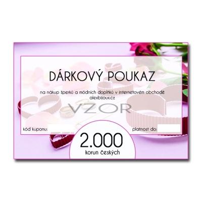 Dárkový poukaz na nákup šperků v hodnotě 2.000 Kč alexbijoux.cz