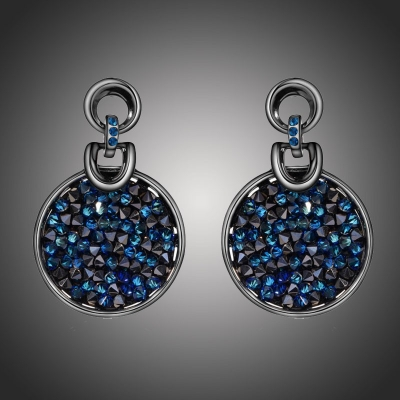 Náušnice Swarovski Elements Crystal Rocks Royal Blue