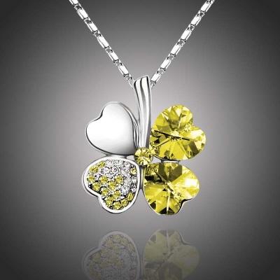 Náhrdelník Swarovski Elements Čtyřlístek pro štěstí - žlutý