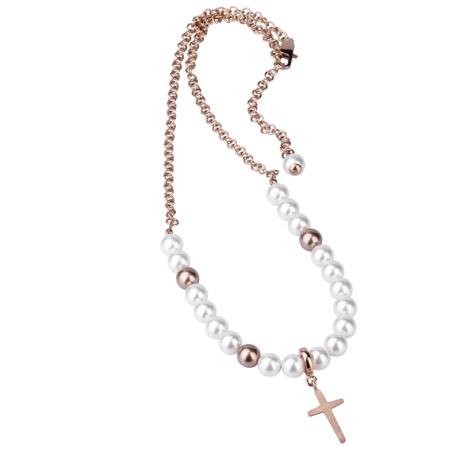 Náhrdelník růženec Eva chirurgická ocel a perla Swarovski - kříž