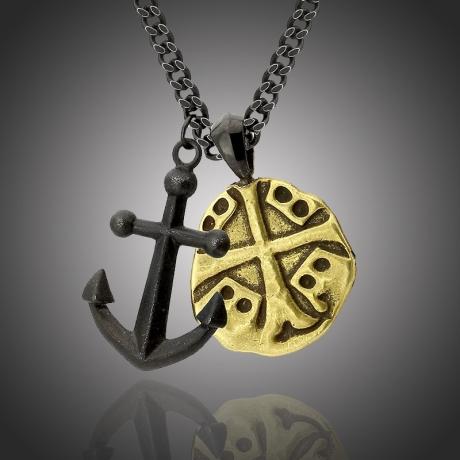 Pánský ocelový náhrdelník Salvatore,  medailon kříž a kotva