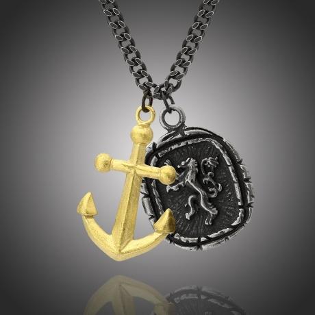 Pánský ocelový náhrdelník Charles,  medailon lev a kotva