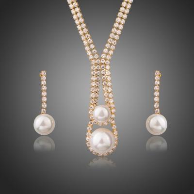 Souprava náhrdelníku a náušnic Swarovski Elements Raimonda, perla