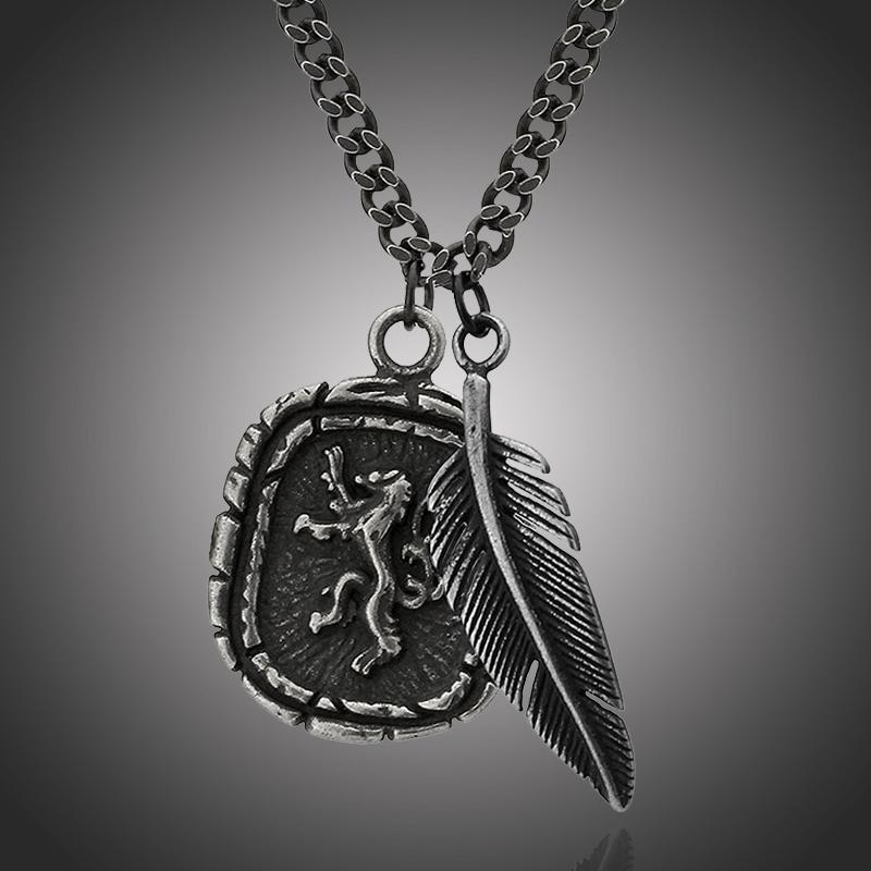 Pánský ocelový náhrdelník Edward, chirurgická ocel, medailon lev