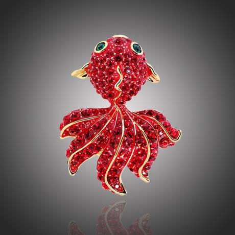 Brož Swarovski Elements Goldfish - rybka