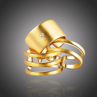 Pozlacený prsten se zirkonem Franco - souprava tří prstenů