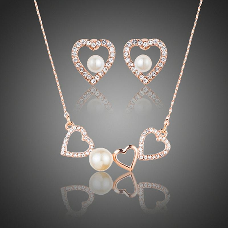 Souprava Swarovski Elements Sinagra s perlou - srdíčko