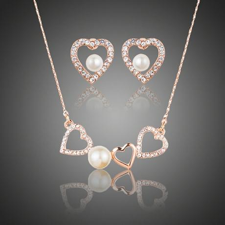 Souprava náhrdelníku a náušnic Swarovski Elements Sinagra s perlou