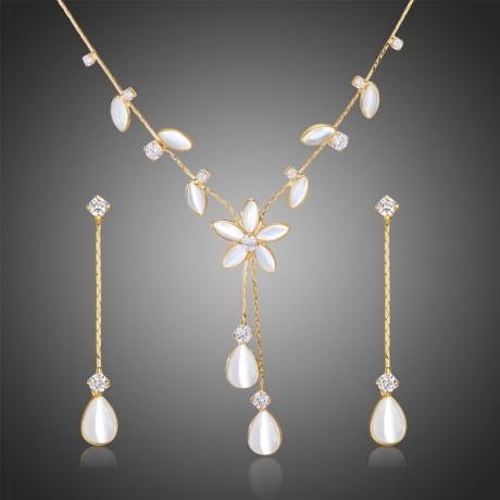 Souprava náhrdelníku a náušnic Swarovski Elements s opály Beluccia