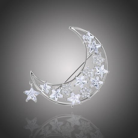 Vánoční brož Swarovski Elements Rosana - měsíc