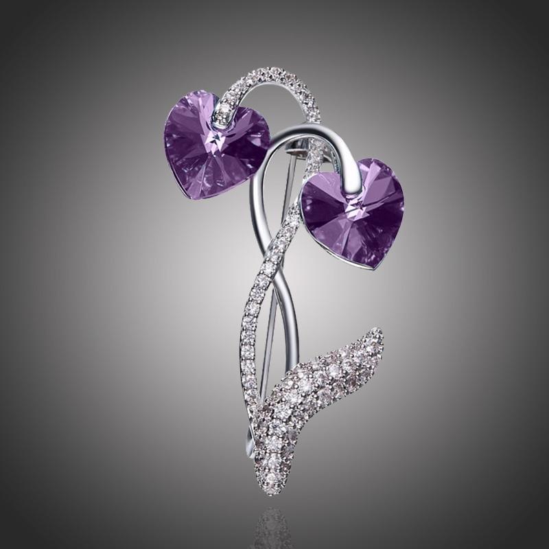 Brož Swarovski Elements Vitalia Purple - květina