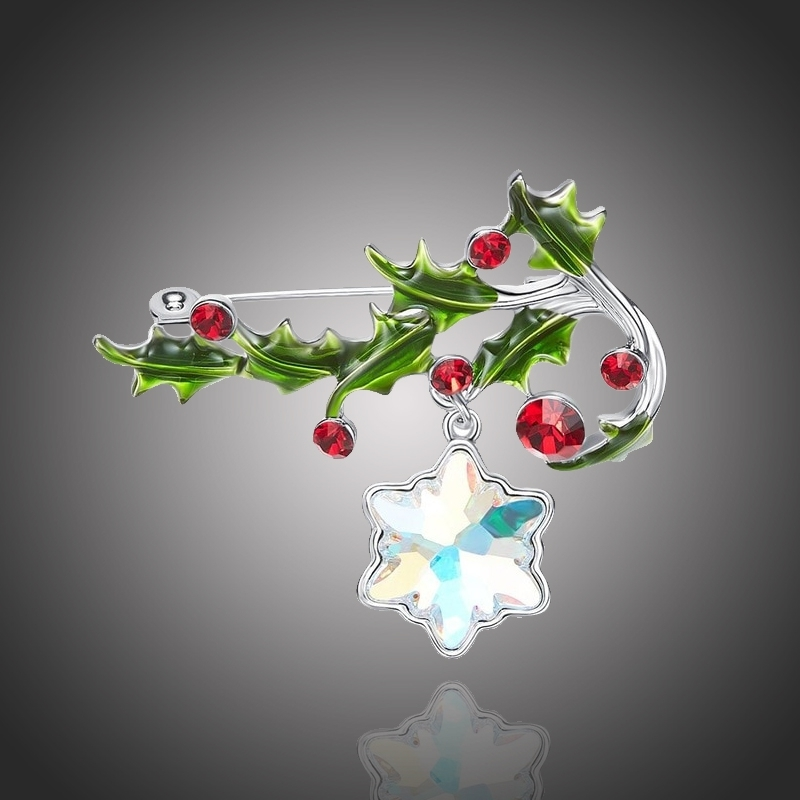Vánoční brož Swarovski Elements Fiscella - vánoční větvička