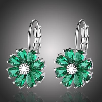 Náušnice Swarovski Elements Fiore Smaragd - květina