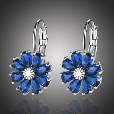 Náušnice Swarovski Elements Fiore Sapphire - květina